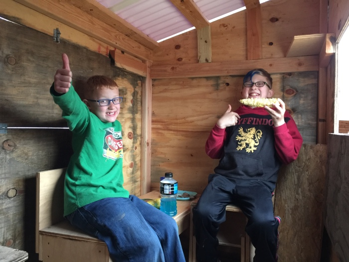 Day 173 – Thankful for Making Pinewood Derby Cars, Tree House Furniture, and Weapons for the Zombie Apocalypse with MyBoys