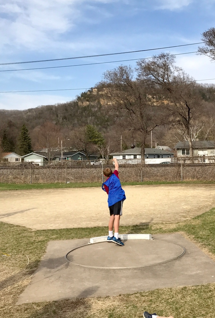 First time doing the shot put at a meet tonight too!
