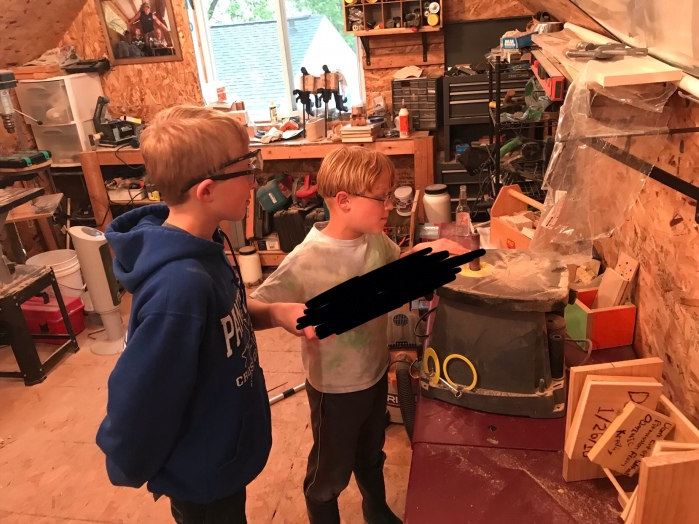 Day 591 – Thankful for Crafting a Top Secret Project with the Boys (& the Smell ofFinish)